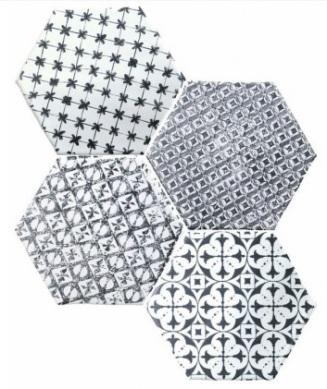 Hexagon Marrakech Mosaic Negro - Cevica